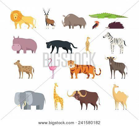 Cartoon African Savannah Animals. Wild Zoo Safari Mammals, Reptiles And Birds Vector Set Isolated On