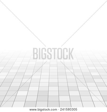 White And Gray Marble Tiles On Bathroom Floor. Rectangle Tiles In Perspective Grid. Abstract Vector