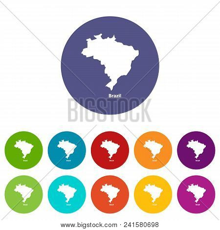 Brazil Map Icon. Simple Illustration Of Brazil Map Vector Icon For Web