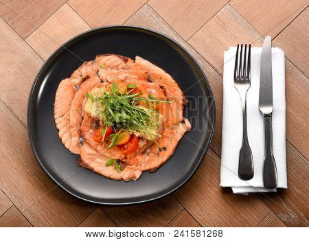Fresh Gourmet Smoked Salmon Slices With Salad