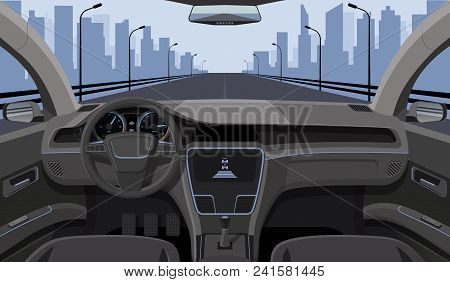 Inside Car Driver View With Rudder, Dashboard Front Panel And Highway In Windshield Cartoon Highway