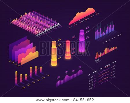 Futuristic 3d Isometric Data Graphic, Business Charts, Statistics Diagram And Infographic Vector Ele