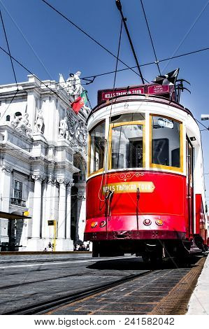 Lisbon, Portugal, May 6, 2018: Tourist Tramway Stands Motionless In Lisbon Downtown.