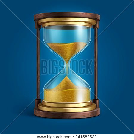 Realistic Hourglass, Sand Clock Timer Vector Illustration. Time And Hourglass, Glass Timer With Sand