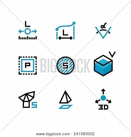 Square area, size, surface areas, 3d dimension, angle and perimeter measuring vector icons isolate. Illustration of symbol acreage, , measurement icon poster