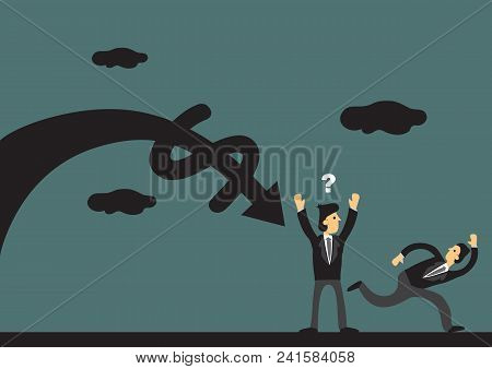 Businessman Running Away From The Economy Crash Without Telling His Business Partnerin A Green Backg