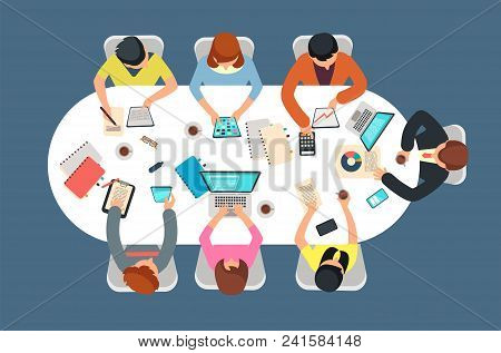 Managed Team In Office Meeting At Table Top View Vector Illustration. Teamwork Concept. Team At Tabl