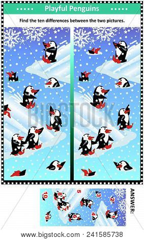 Winter, Christmas Or New Year Themed Visual Puzzle With Happy Playful Penguins: Find The Ten Differe