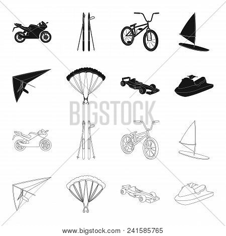 Hang Glider, Parachute, Racing Car, Water Scooter.extreme Sport Set Collection Icons In Black, Outli