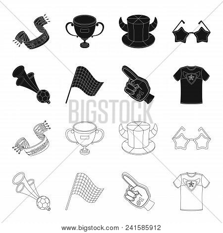 Pipe, Uniform And Other Attributes Of The Fans.fans Set Collection Icons In Black, Outline Style Vec