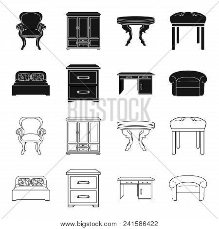 Interior, Design, Bed, Bedroom .furniture And Home Interiorset Collection Icons In Black, Outline St