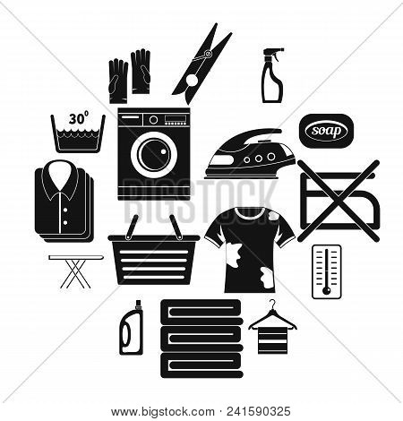 Laundry Icons Set. Simple Illustration Of 16 Laundry Vector Icons For Web