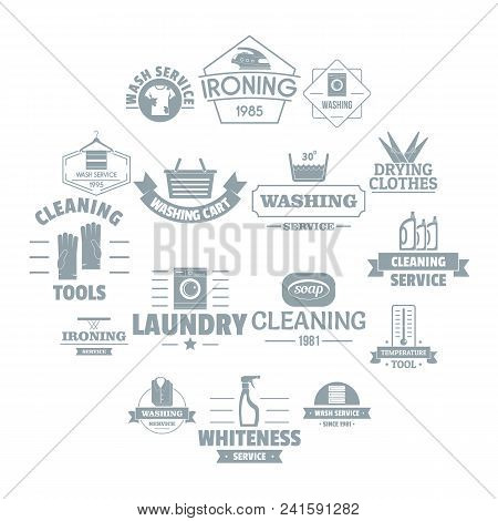 Laundry Cleaning Logo Icons Set. Simple Illustration Of 16 Laundry Cleaning Logo Vector Icons For We