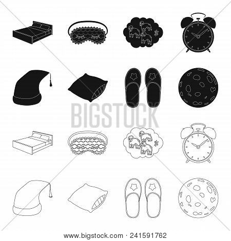 Night Cap, Pillow, Slippers, Moon. Rest And Sleep Set Collection Icons In Black, Outline Style Vecto