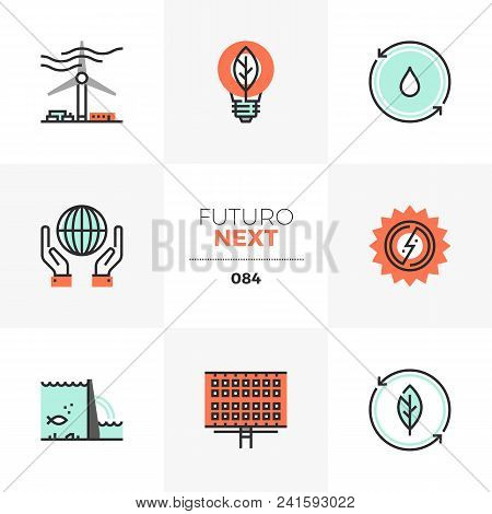 Modern Flat Icons Set Of Renewable Energy Source, Alternative Energy. Unique Color Flat Graphics Ele