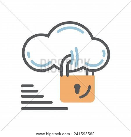 Cloud Security Icon With Lock Isolated On A White Background