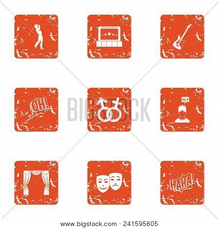 Pair Entertainment Icons Set. Grunge Set Of 9 Pair Entertainment Vector Icons For Web Isolated On Wh