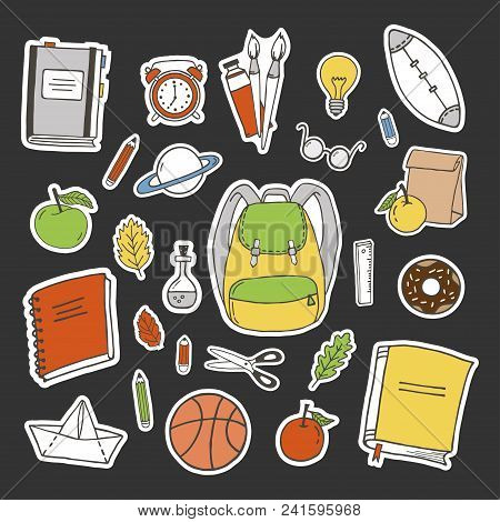 Back To School Sticker Set. Hand Drawn Objects. Doodle Style.
