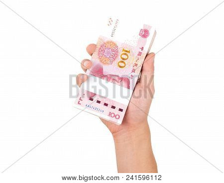 Man Hand Holding One Hundred Dollar Money Bills Isolated On White Background With Clipping Path. Mon