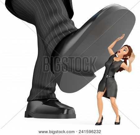 3d Business People Illustration. Businesswoman Under A Giant Foot Of Man. Abuse Of Power, Bullying A