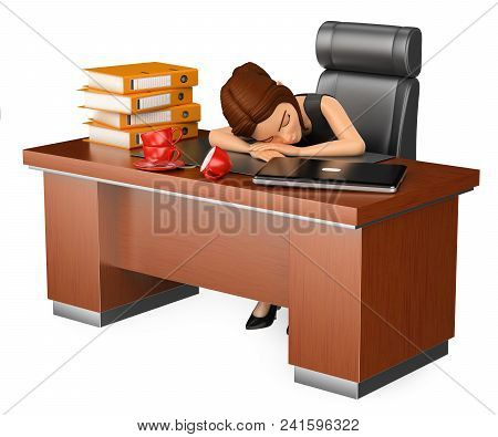 3d Business People Illustration. Businesswoman Sleeping In Her Office. Long Working Day. Isolated Wh