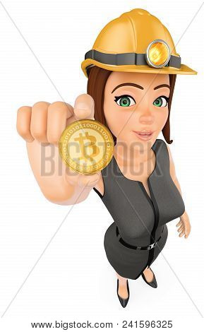 3d Business People Illustration. Businesswoman With Hard Helmet Mining A Cryptocurrency Bitcoin. Iso