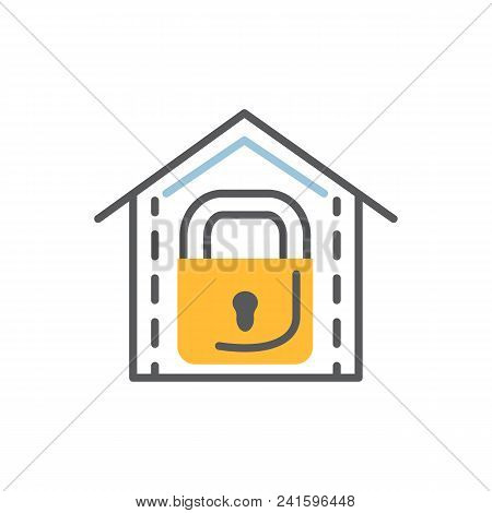 Lock Icon Flat And Line Modern Vector Illustration Over White.safety Concept.
