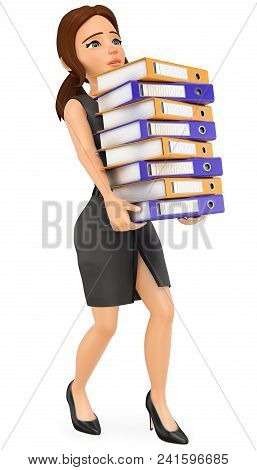 3d Business People Illustration. Businesswoman Loading With Many Ring Binders. Work Overload. Isolat
