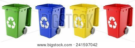 3d Environment Illustration. Dustbins Of Various Colors. Opened. Isolated White Background.