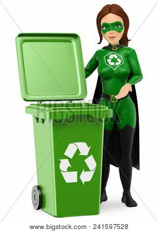 3d Environment People Illustration. Woman Superhero Of Recycling Standing With A Green Bin For Recyc