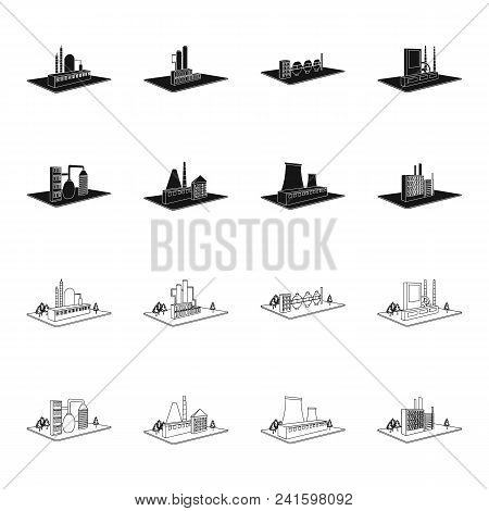 Processing Factory, Metallurgical Plant. Factory And Industry Set Collection Icons In Black, Outline