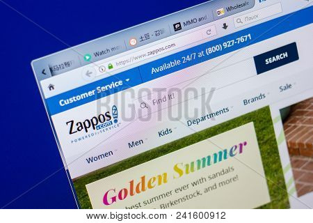 Ryazan, Russia - May 20, 2018: Homepage Of Zappos Website On The Display Of Pc, Url - Zappos.com