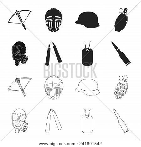 Gas Mask, Nunchak, Ammunition, Soldier Token. Weapons Set Collection Icons In Black, Outline Style V