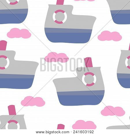 Cute Seamless Childish Pattern For Kids In Scandinavian Style With Ferry. For Wrapper, Textile Or Pr