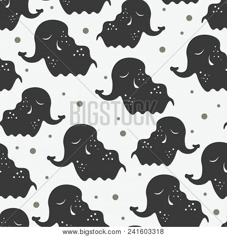 Cute Seamless Childish Pattern For Kids In Scandinavian Style With Elephant. For Wrapper, Textile Or