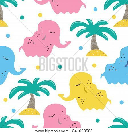 Cute Seamless Childish Pattern For Kids In Scandinavian Style With Elephant And Palm. For Wrapper, T
