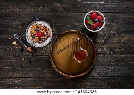 Fresh Granola, Muesli With Yogurt, Blueberries, Raspberries, Dried Apple And Cranberries With Chia S