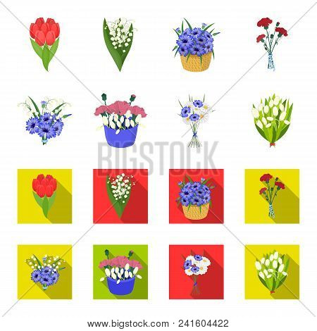 A Bouquet Of Fresh Flowers Cartoon, Flat Icons In Set Collection For Design. Various Bouquets Vector