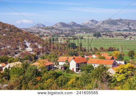 Small Mountain Village In Dinaric Alps On  Sunny Autumn Day. Bosnia And Herzegovina, Republica Srpsk