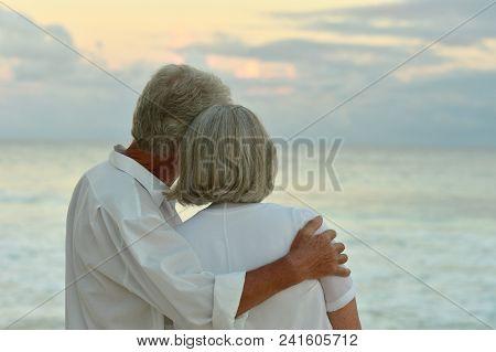 Happy Elderly Couple Resting On  Beach Embracing