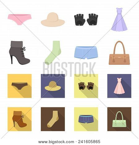 Women Boots, Socks, Shorts, Ladies Bag. Clothing Set Collection Icons In Cartoon, Flat Style Vector