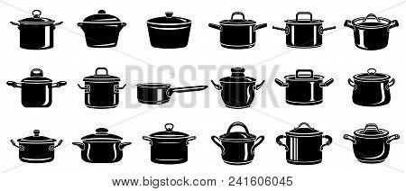 Frying Hot Saucepan Cook Pan Icons Set. Simple Illustration Of Frying Hot Saucepan Cook Pan Vector I