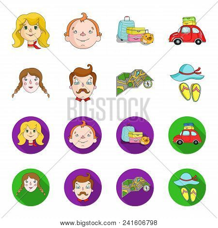 Travel, Vacation, Camping, Map .family Holiday Set Collection Icons In Cartoon, Flat Style Vector Sy