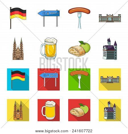 Country Germany Cartoon, Flat Icons In Set Collection For Design. Germany And Landmark Vector Symbol