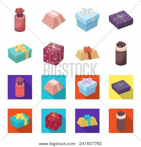 Gift Box With Bow, Gift Bag.gifts And Certificates Set Collection Icons In Cartoon, Flat Style Vecto