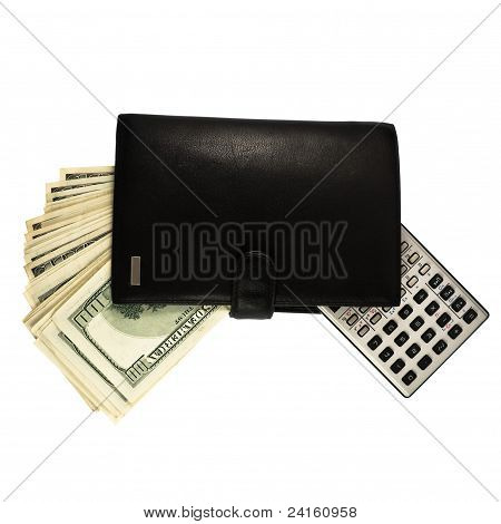 Leather wallet with money and calculator