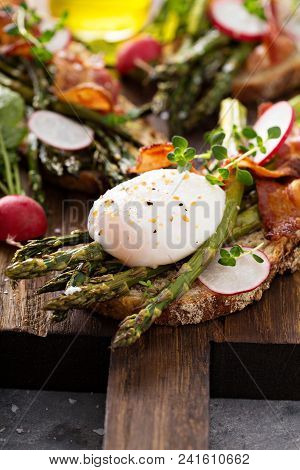 Roasted Asparagus And Bacon Bruschetta With Poached Egg And Radishes