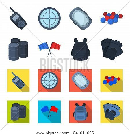 Protective Vest, Gloves And Other Equipment. Paintball Single Icon In Cartoon, Flat Style Vector Sym
