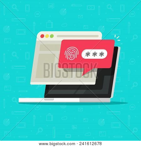 Laptop Computer With Unlocked Via Fingerprint Password Bubble Notification, Flat Cartoon Design Of P