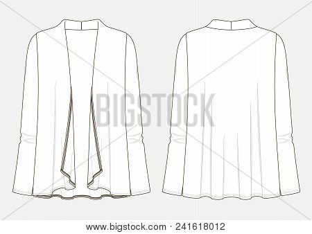 Fashion Technical Sketch Of Woman Cardigan In Vector Graphic